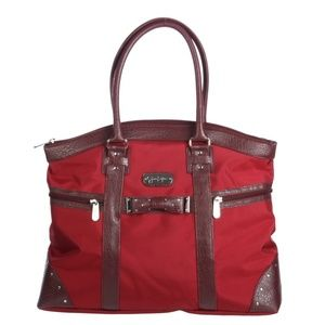 Jessica Simpson Red Embellished Bow-tie Carry-On